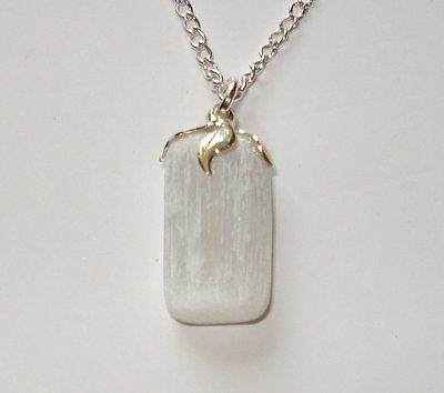 SELENITE ~ NATURAL HEALING CRYSTAL ~ on 18 inch CHAIN