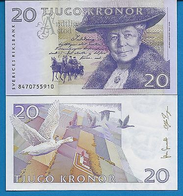Sweden P-63d 20 Kronor Year 2008 Selma Lagerlof Uncirculated Banknote Europe