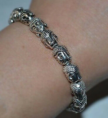 Tibet Tibetan Buddhist Bronze Shakyamuni Buddha Head Bracelet Bangle