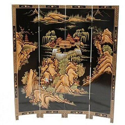 Black with Artistry Design Screen Room Divider Chinese Oriental Furniture