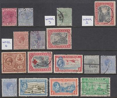 Bahamas pre-1953 used hi val selection 16 diff stamps cv $52.25