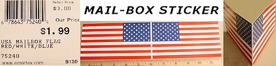 "USA Flag Patriotic 2-Sided MAILBOX STICKER 6"" x 3.25"" each"