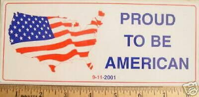 """PROUD TO BE AN AMERICAN"" US Flag Map 9-11-2001 STICKER"