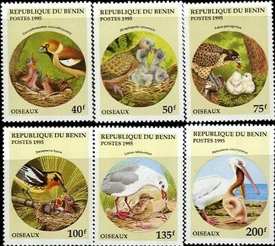Birds With Their Young On Stamps Benin # 780-785 MNH
