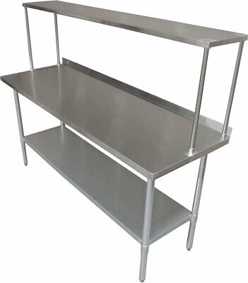 1.5M #304 Sb Cafe Portable Stainless Steel Bench,1 Overshelf ,1 Under Shelf