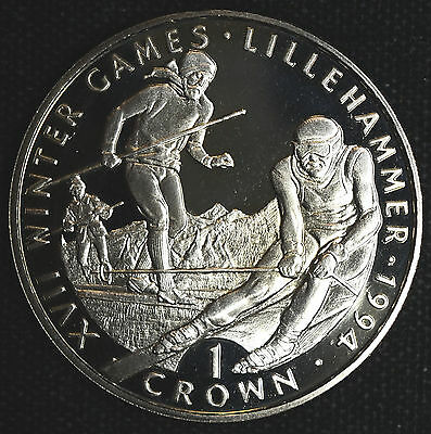 Gibraltar 1 Crown 1993 Superb Gem Proof 1C Britain XVII Winter Olympics Skiers.
