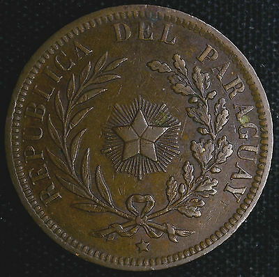 Paraguay 4 Centesimos 1870 EF+ KM#4.1 4C Struck Thru Error One Year Scarce.