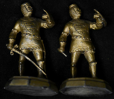 Set of 2 Bronze Knight Medieval shield armor sword Statues Sculptures