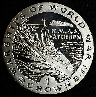 Gibraltar 1 Crown 1993 Gem BU PL KM#123 1C Britain WWII Warships HMAS Waterhen.