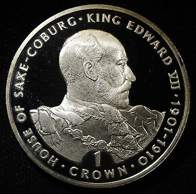 Gibraltar 1 Crown 1993 Superb Gem BU PL 1C Edward VII Britain Saxe-Coburg.