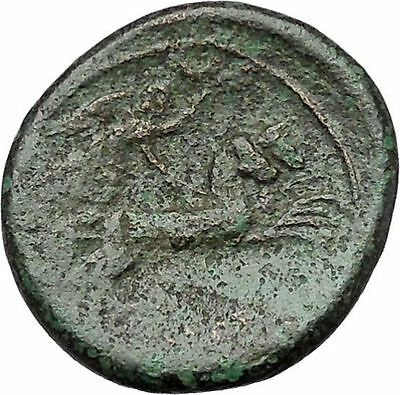 SYRACUSE in SICILY 212BC Greek Coin under Roman Rule Zeus Nike Chariot  i41271