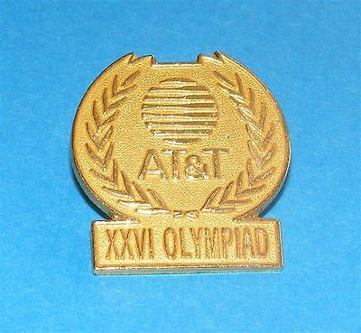 ATLANTA 1996 Olympic Collectible Sponsor Pin - AT&T XXVI Olympiad Gold Round