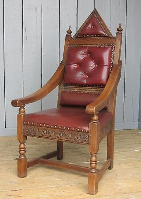 Vintage Oak Throne Chair - Dining Ox Blood Leatherette Seat Church Chapel Chair