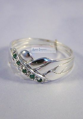 Silver & Emerald 4 Band Turkish Puzzle Ring - Traditional Style 5 Accent Gems