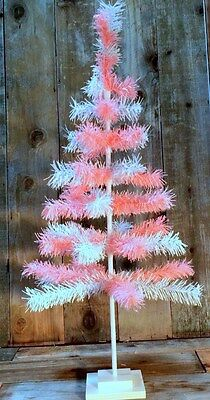 "Pink & White Christmas Tree Pink Easter Feather Tinsel Tree 36"" Pink Barbie Tree"