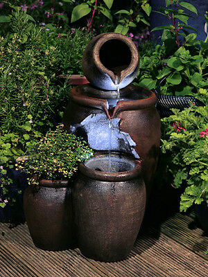 Jug Pot Water Feature Fountain Vintage Style Cascade 2 Tiered  LED Lights Garden