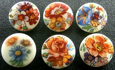 6 Czech Glass Decal Buttons #D123 - UNIQUE COLLECTION of 6 DIFFERENT FLOWERS