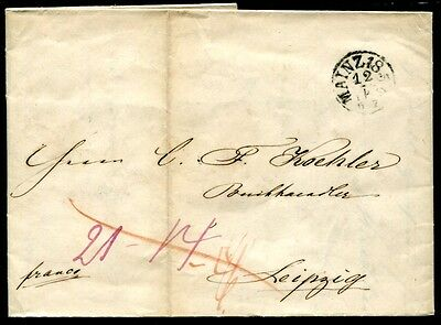 MAINZ 1851 BRIEF nach LEIPZIG (J3903