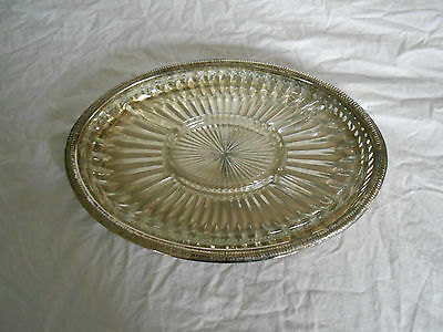Silver serving tray w/glass insert