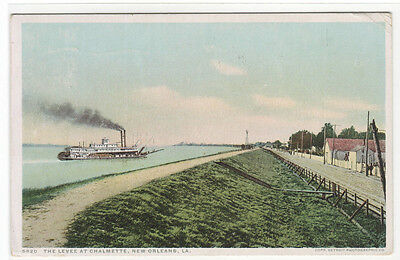 Steamer Levee at Chalmette New Orleans Louisiana Phostint 1920 postcard