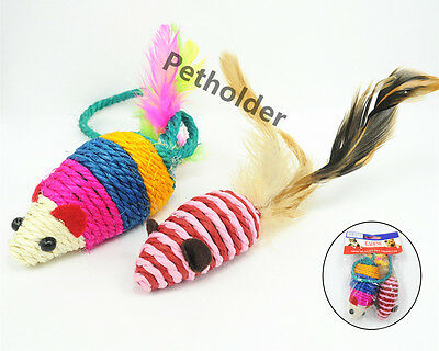 Clearance Wholesale Pet Cat Toy Sisal Feather Mice MouseToy A Set Of 48 pieces