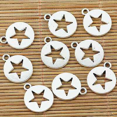 16pcs tibetan silver color round shaped star hollow charms EF1437