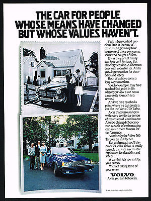 1987 Volvo Vintage Family Car Then & 760 Turbo Car Now Print Ad