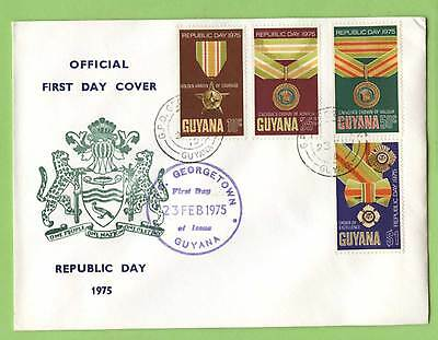 Guyana 1975 Republic Day Orders and Decorations First Day Cover, with Bureau cac