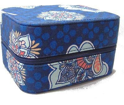Wellspring Dark Blue Paisley Travel sized Jewelry Box Zipper Compartments