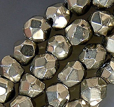 """4mm Faceted Golden Pyrite Beads 16"""""""