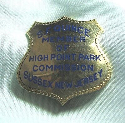 10K Gold Obsolete Badge / Pin  High Point Park Commission Sussex NJ 12.6 grams
