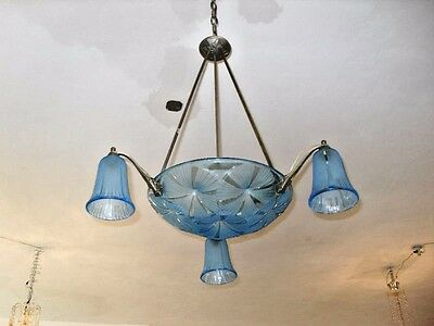 "French Art Deco 5 Light Blue ""degue"" Chandelier/ Fixt."