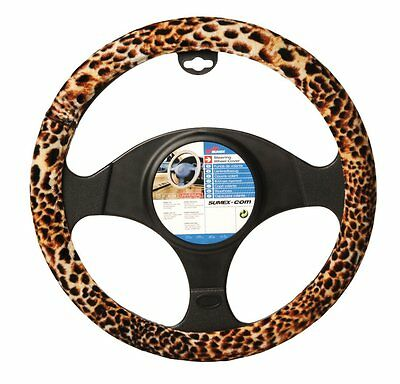 Brown, Beige & Black Velour Leopard Animal Print Car Steering Wheel Cover Glove