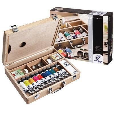 Van Gogh Artists Oil Wooden Box Set. Artists Paints, Mediums & Brushes.