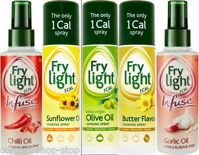 Frylight Cooking Spray..sunflower, Olive Oil, Butter, 1 Cal Per Spray!