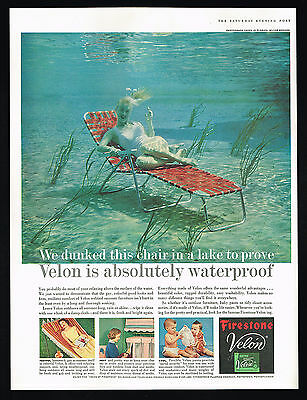 1957 Outdoor Webbed Furniture Under Water Pretty Woman Firestone Velon Print Ad