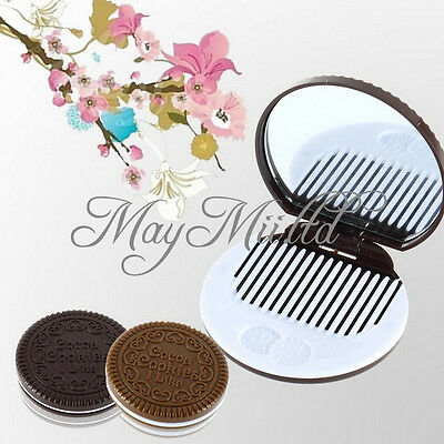 Cute Cookie Shaped Design Mirror Makeup Chocolate Comb S