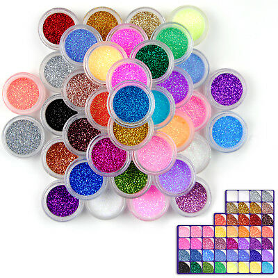48 Colors Glitter Nail Art Dust Kit UV Acrylic Nail Sparkle Bright Powder Set