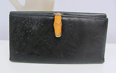 Vintage G. Gucci Checkbook Wallet Clutch Black Embossed Leather Bamboo Closure