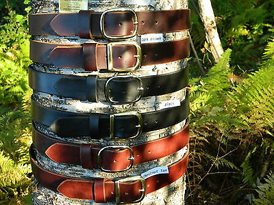 "Handmade Thick Leather Belt Men Woman 1 1/2"" Inch wide Black Brown Tan YOUR SIZE"