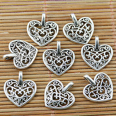 30pcs tibetan silver tone  hollow floral heart charms EF1783