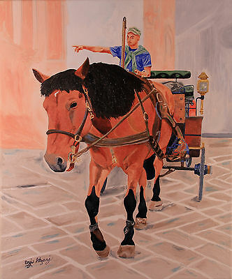265 - Original Oil Painting by Ezi - a Horse and Carriage - Michelangelo Hand?