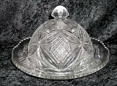 EAPG Butter Dish PATTEE CROSS/GEORGIA #1 Broughton US Glass 1909