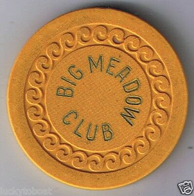 Big Meadow Club Mustard Wave Mold Roulette Poker Casino Chip Lovelock Nevada