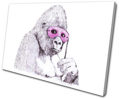 Banksy Painting Monkey Mask SINGLE CANVAS WALL ART Picture Print VA