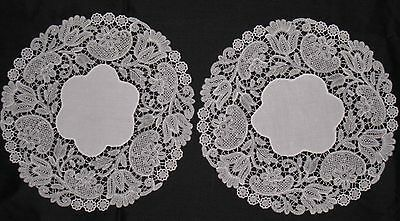 "MATCHING PAIR EXQUISITE ANTIQUE CHEMICAL LACE DOILYS~8-1/4""Across~Flawless Cond"