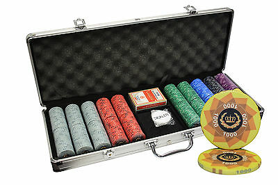500pcs LAUREL CROWN CERAMIC POKER CHIPS SET ALUMINUM CASE CUSTOM BUILD