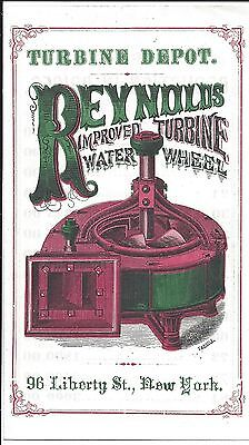 Excellent Four Page Flyer, Reynolds Turbine Water Wheel, c1868 (Color!)