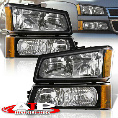 For 03-06 Chevy Silverado 4Pc Black Amber Headlights + Clear Lens Bumper Lamps