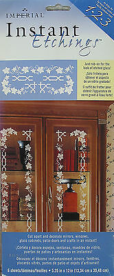 Instant Etched Glass Applicator 6 Sheets Rub On Etching Stencils Mirrors Windows